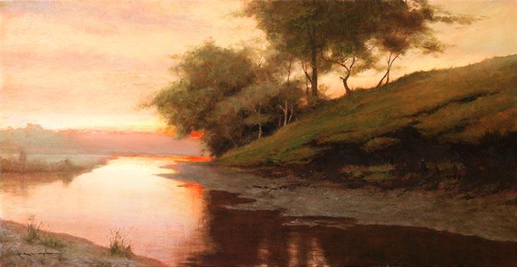 Dusk at Zoar Valley - Psalm 9:9by Thomas Kegler, oil on linen, 15 x 30.