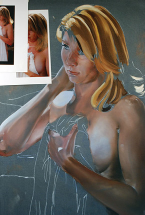 Oil figure painting demo by Thomas Sheehan, continue roughing in