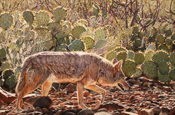 Under the Desert Sun, pastel wildlife painting by Sue Gombus