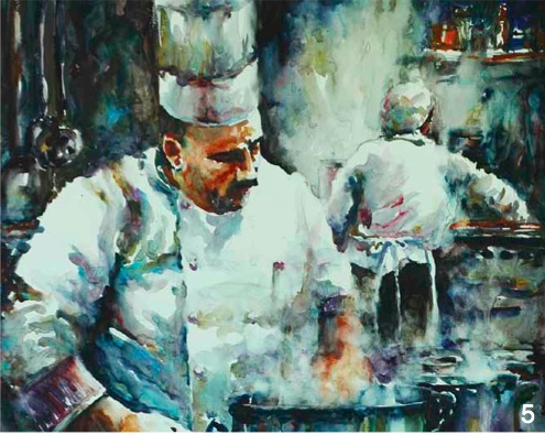 chef in watercolor | figure painting