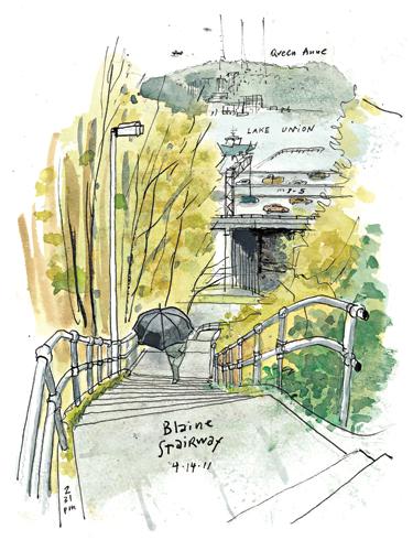 Blaine Stairway by Urban Sketchers founder Gabriel Campanario