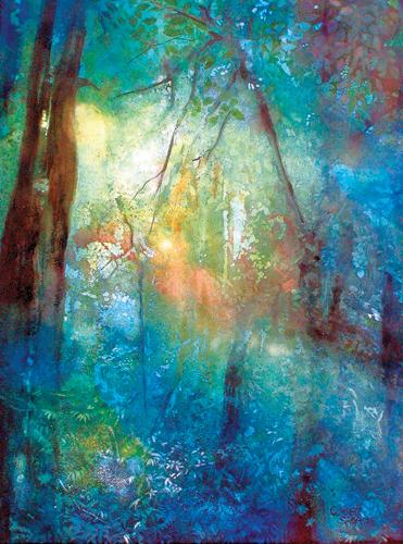 Rainforest Light (watercolor on paper, 30x22)