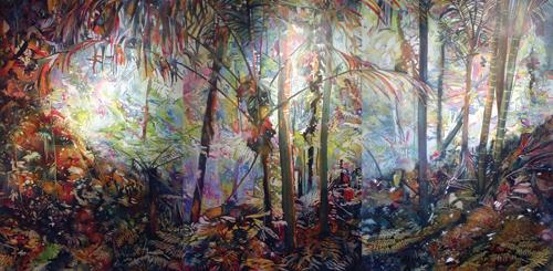 Sandy Cruz (triptych; watercolor on canvas, 44x96)