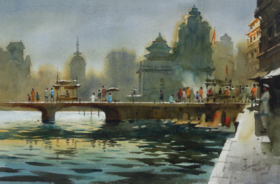 watercolor landscape painting by Prafull Sawant