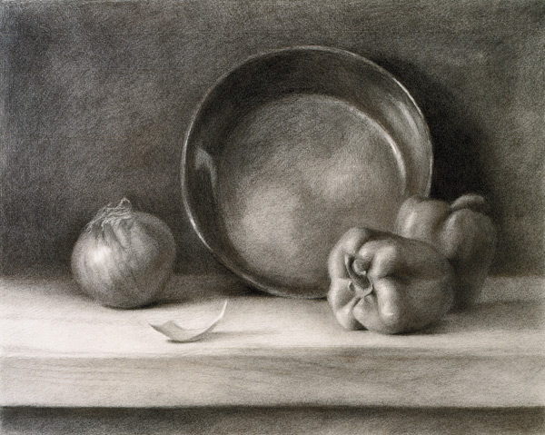 Kitchen Still Life by David Dwyer, a still life in charcoal