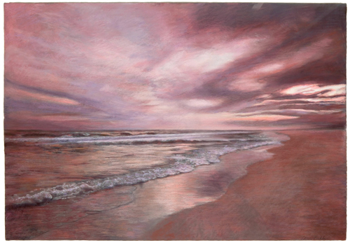 Florida Coast, Sunset (pastel) by Adrian Deckbar