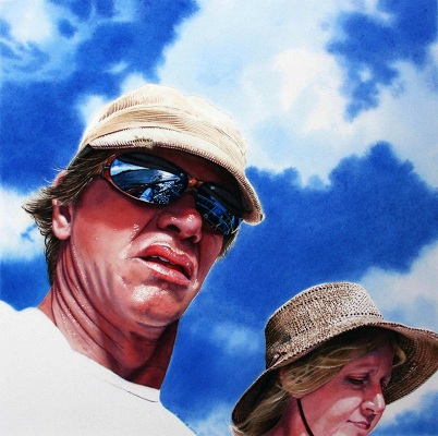 Watercolor portrait painting by Denny Bond