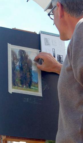 pastel field sketch