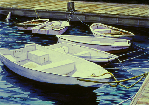 Six Dinghies (watercolor on paper) by Annie Strack