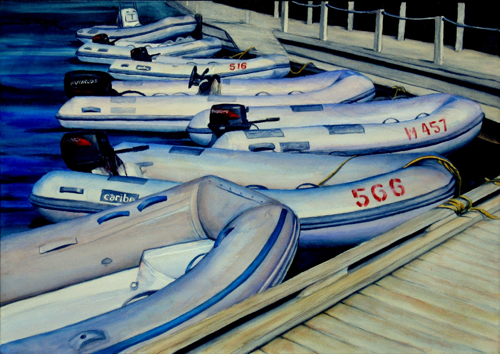 BVI Dinghies (watercolor on paper) by Annie Strack