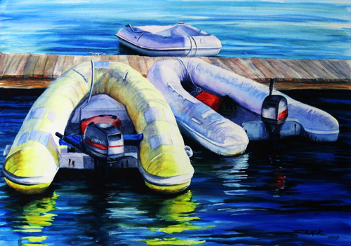 Yellow Dinghy (watercolor on paper) by Annie Strack