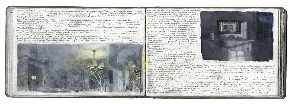 by Charles Ritchie, www.charlesritchie.com Book 133, Late Fall 2009 / Spring 2010 2009–2010, watercolor, graphite, pen-and-ink on paper in linen-bound volume, 4¼ x 6¼. 96 pages.