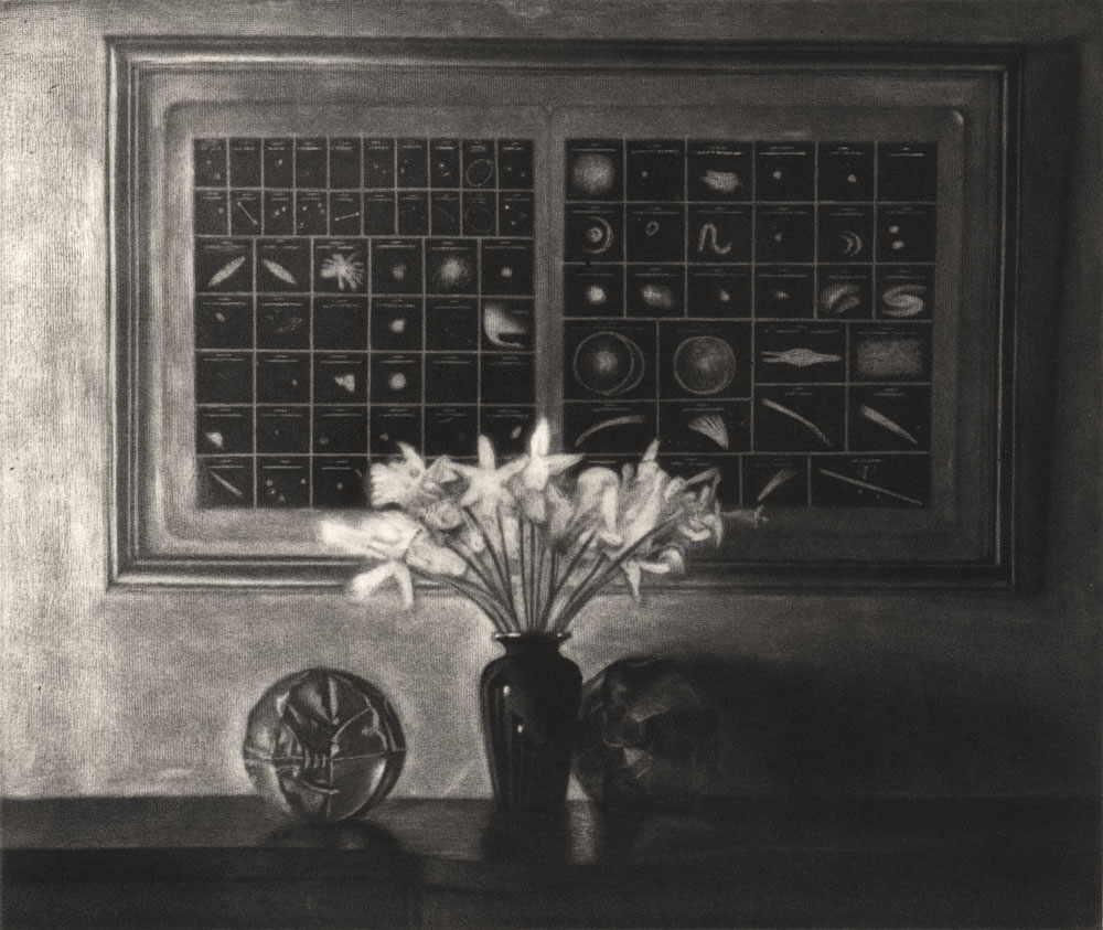 by Charles Ritchie, www.charlesritchie.com Daffodils With Astronomical Chart 1996, mezzotint, 11½ x 12.