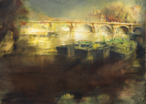Paris Lights Pont Neuf (watercolor on paper) by Antonio Masi