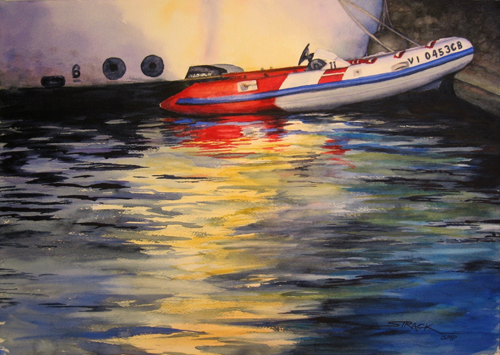 Red & White Dinghy (watercolor on paper) by Annie Strack