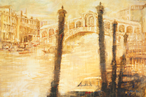 Sunshine, Rain, Rialto (watercolor on paper) by Antonio Masi