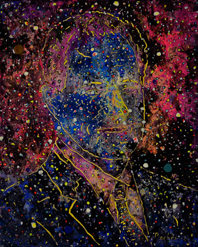 Marc Nebula byTom Bacher shown in the light, painted with luminescent acrylic paints