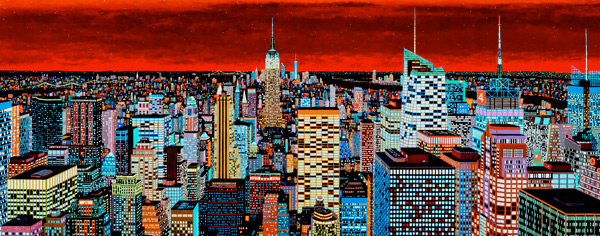 """luminescent paints used for """"New York City"""" cause the sunset to fill the sky in this photo."""