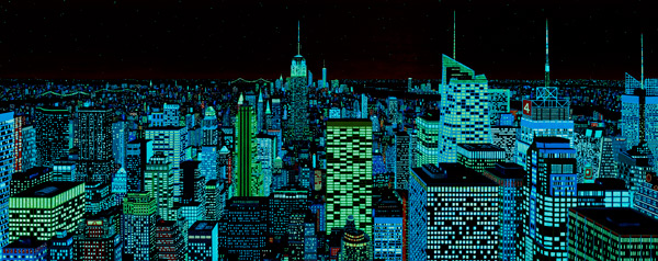 phosphorescent paints still glow in this night view