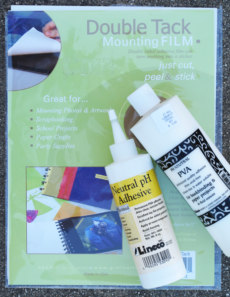 Neutral pH bookbinding adhesive and Double Tack mounting film