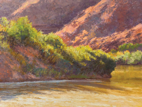 Afternoon Light on the River (pastel) by Lee McVey