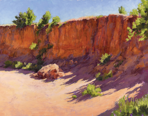 Arroyo Wall With Shadows  (pastel) by Lee McVey