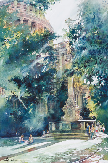 Church in Morning Light (watercolor on 140-lb. cold-pressed Arches, 22x15) by Lian Quan Zhen