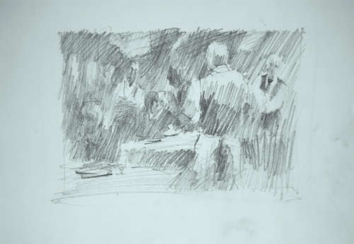 Value study for Waiting on Tables (graphite, 9x12) by Tom Francesconi