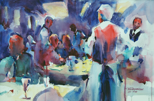 Waiting on Tables (watercolor on paper, 13x20) by Tom Francesconi