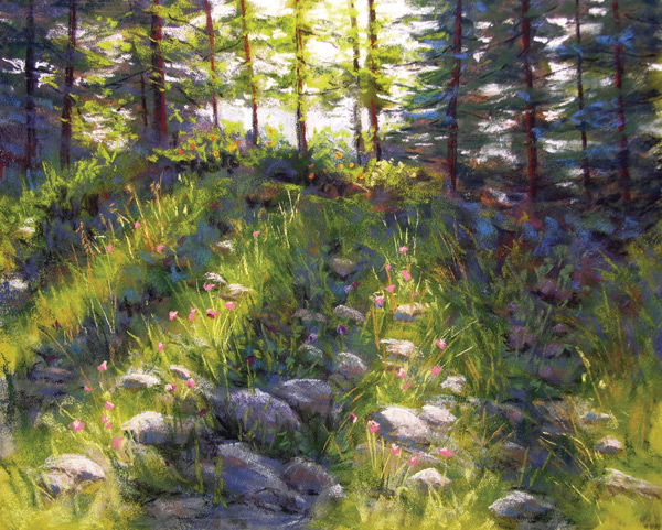 Mountain Wildflowers (pastel, 16x20) by Maggie Price