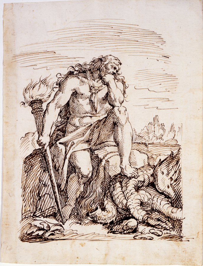 Hercules and the Hydra, by Pier Antonio Novelli, 18th century, pen-and-ink, 11 15/16 x 9 1/16. Georgia Museum of Art.