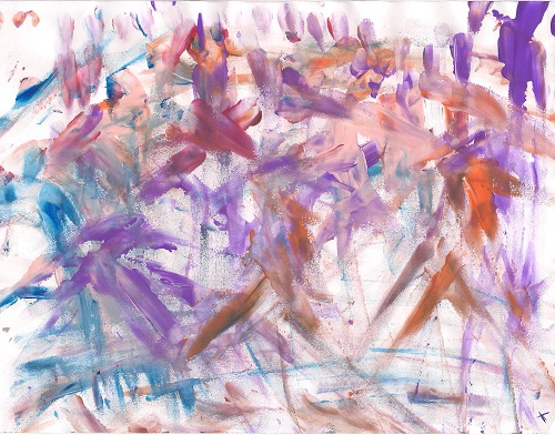 People Exercising (finger painting) by Tammy Ruggles