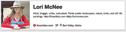 Lori McNee's bio on Pinterest
