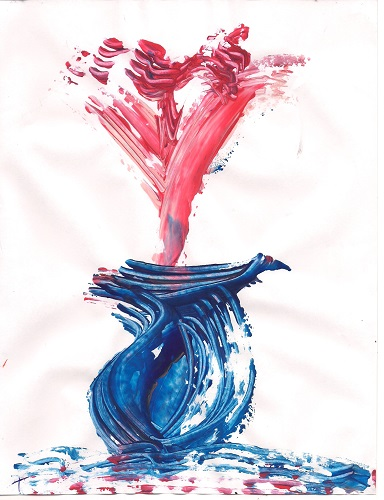 Red Flower Blue Vase (finger painting) by Tammy Ruggles