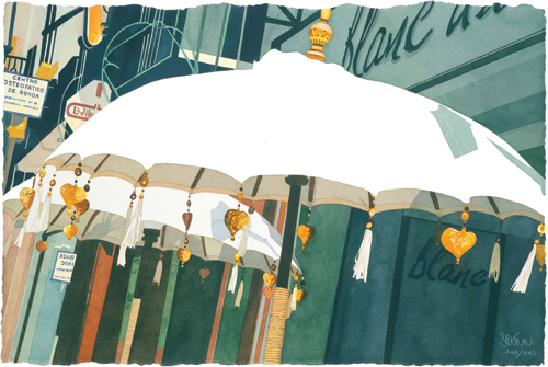 Umbrellas in San Franciso Square, Ronda, Spain (watercolor on paper, 30x40) by Susanna Spann
