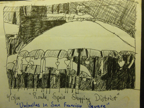 Value sketch for Umbrellas in San Francisco Square, Ronda, Spain (pen and ink) by Susanna Spann