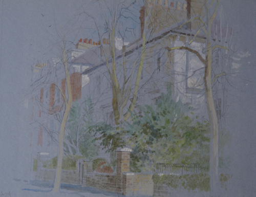 Springfield Rd Winter Sunshine by Charlotte Halliday | watercolor landscape