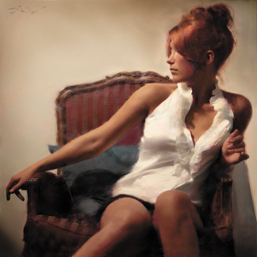 In Erubescent (oil, 34x34), Baugh demonstrates his oil painting techniques for achieving light and color in his oil portraits of beautiful women.