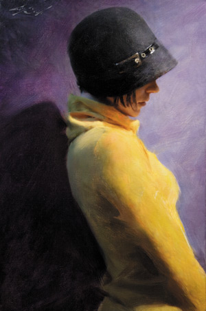 Using a slightly off-center pose, Baugh makes use o compelling color masses and lighting effects in the portrait Poise (oil, 24x16).