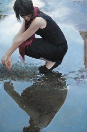 Reflection (oil, 48x32) is a testament to Baugh's portrait painting expertise, with its eye-catching pose, cropping, and subject matter.