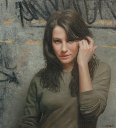 Brush Back (oil, 24x23) by David Jon Kassan