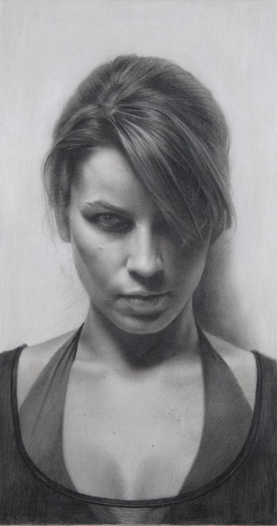 Study of Laura Genne (charcoal,pastel pencil and white chalk pencil, 20x10) by David Jon Kassan