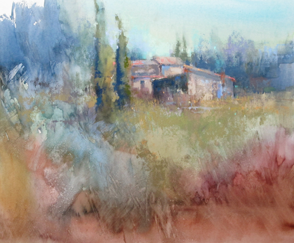 In this unfinished pastel painting from the south of France, you can see the initial application of pastel to the area where the buildings are located.