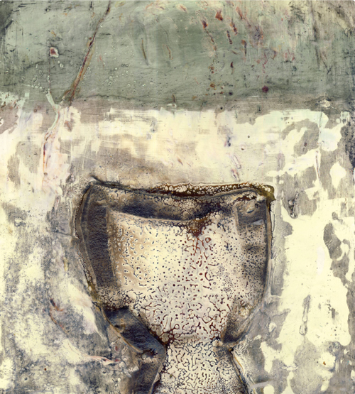 Chalice (encaustic and mixed media on wood panel) by Serena Barton. In this piece, I borrowed the roundness of the broken bowls, creating the top part of the chalice.