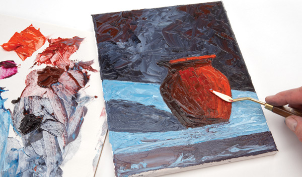 """Direct painting with a palette knife"" is one of many demonstrations included in Making Art."