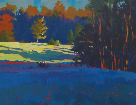 Morning Walk (acrylic, 12x16) by Mark Mehaffey, acrylic in color