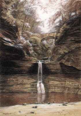 Rivendell_waterfall drawing_Mary Ann Pals