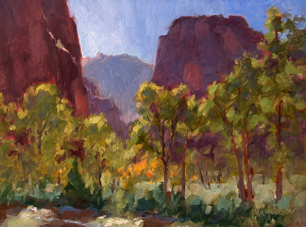 Riverdance, oil painting by Michael Chesley Johnson, Zion National Park