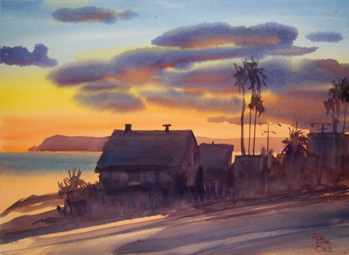 Sunset on Highway 101 (watercolor on paper, 18x24) by Robin Rogers Cloud | watercolor painting