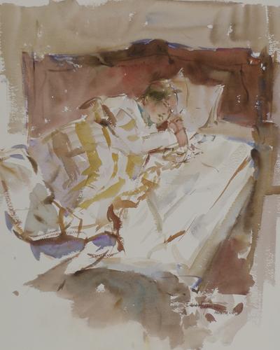 Esther Asleep in Paris (watercolor on paper) by Eric Wiegardt